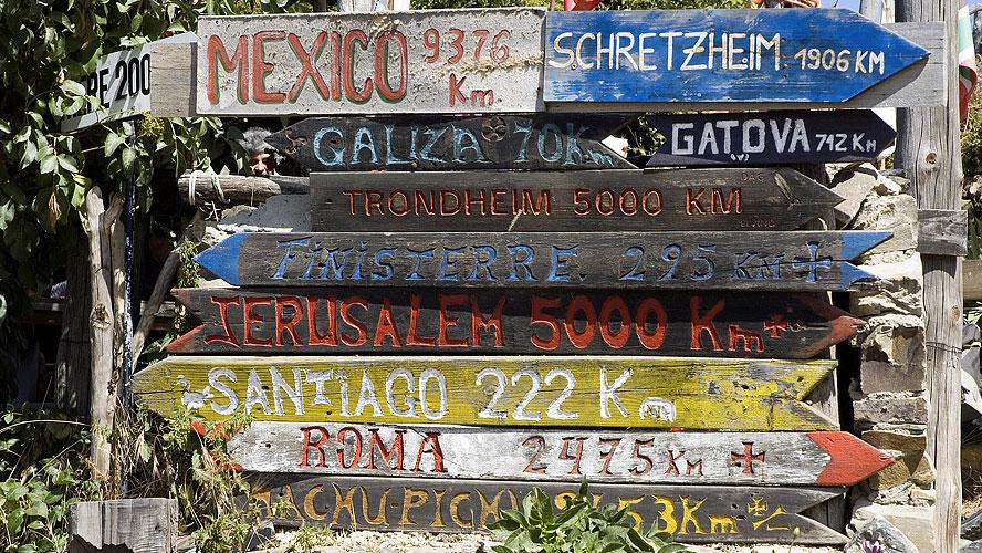 spanjemijnland | wegwijzering voor de pelgrims bij Manjarin